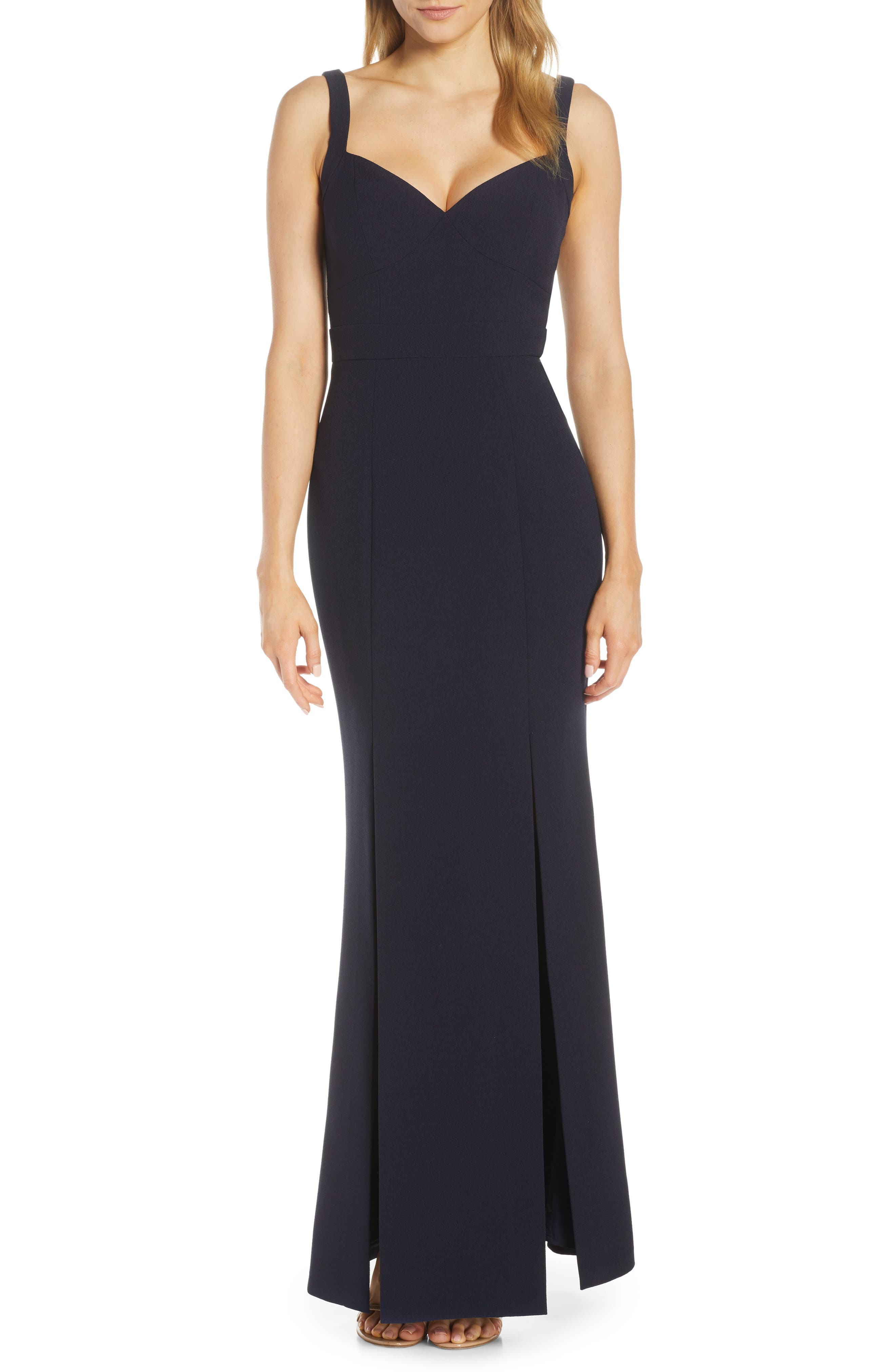 Eliza J Slit Flared Body-Con Crepe Gown, Blue