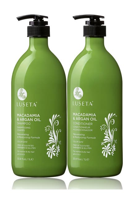 Image of Luseta Beauty Macadamia & Argan Oil Shampoo & Conditioner 33.8 oz. Set for Normal & Dry Hair