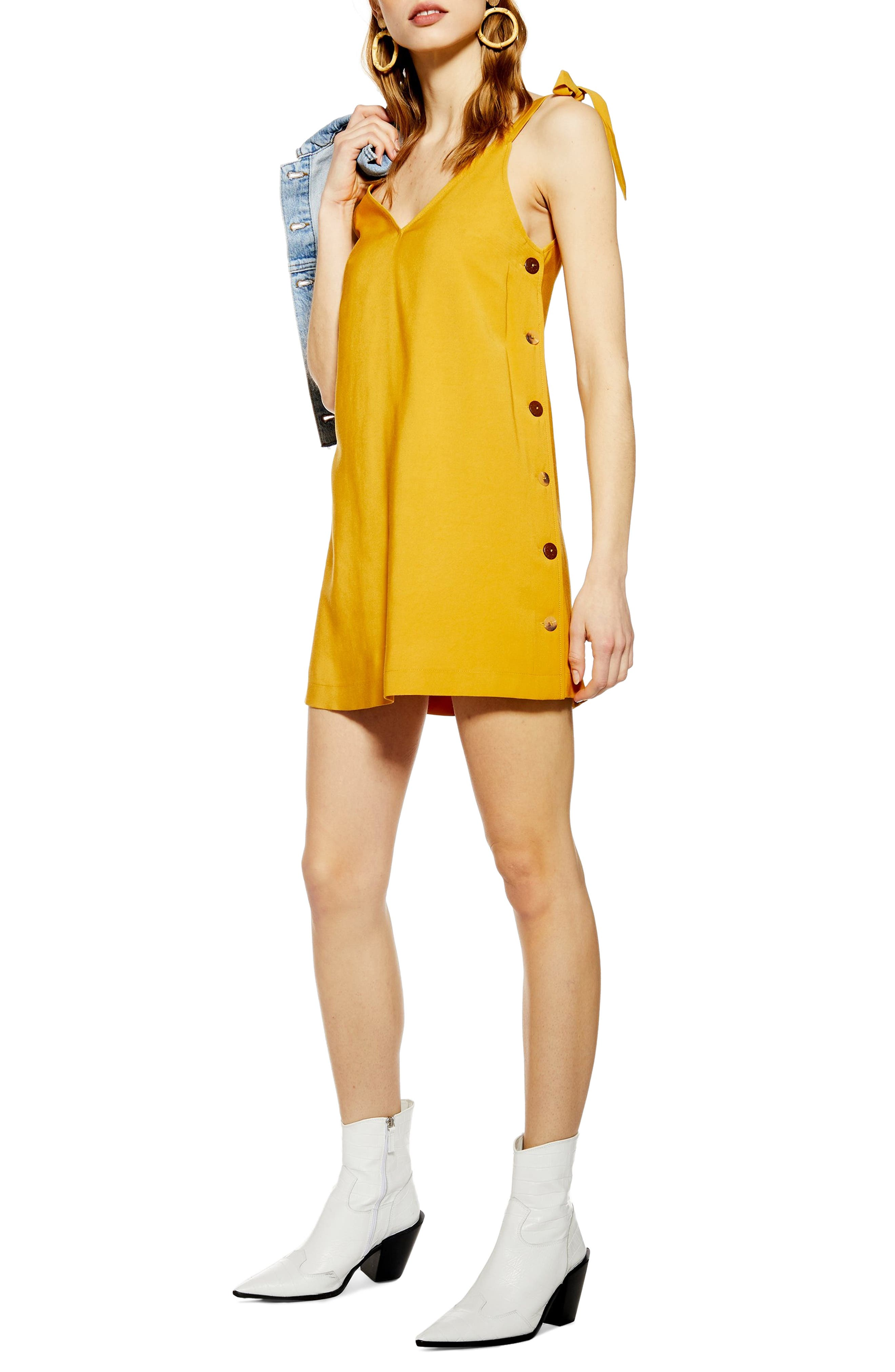 Topshop Tilda Button Mini Slipdress, US (fits like 16-18) - Yellow
