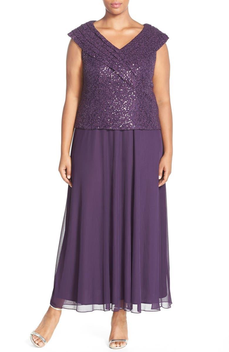 Patra Portrait Collar Sequin Lace & Chiffon Gown (Plus Size ...