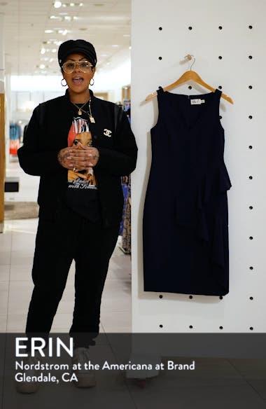 Ruffle Detail Crepe Sheath Dress, sales video thumbnail