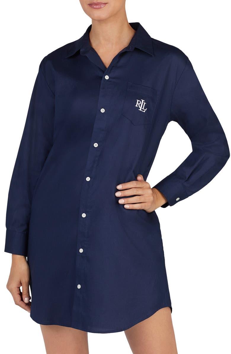 LAUREN RALPH LAUREN Cotton Sleep Shirt, Main, color, 400
