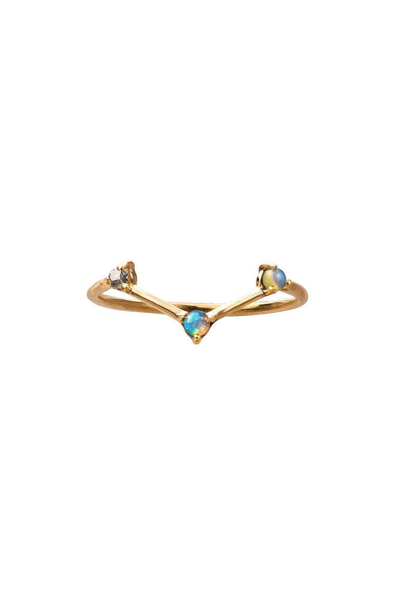 WWAKE Counting Collection Three-Step Triangle Diamond & Opal Ring, Main, color, YELLOW GOLD/ DIAMOND/ OPAL