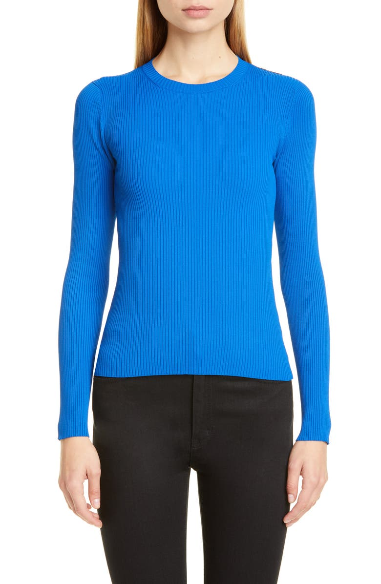 BALENCIAGA Logo Tab Rib Sweater, Main, color, ROYAL BLUE