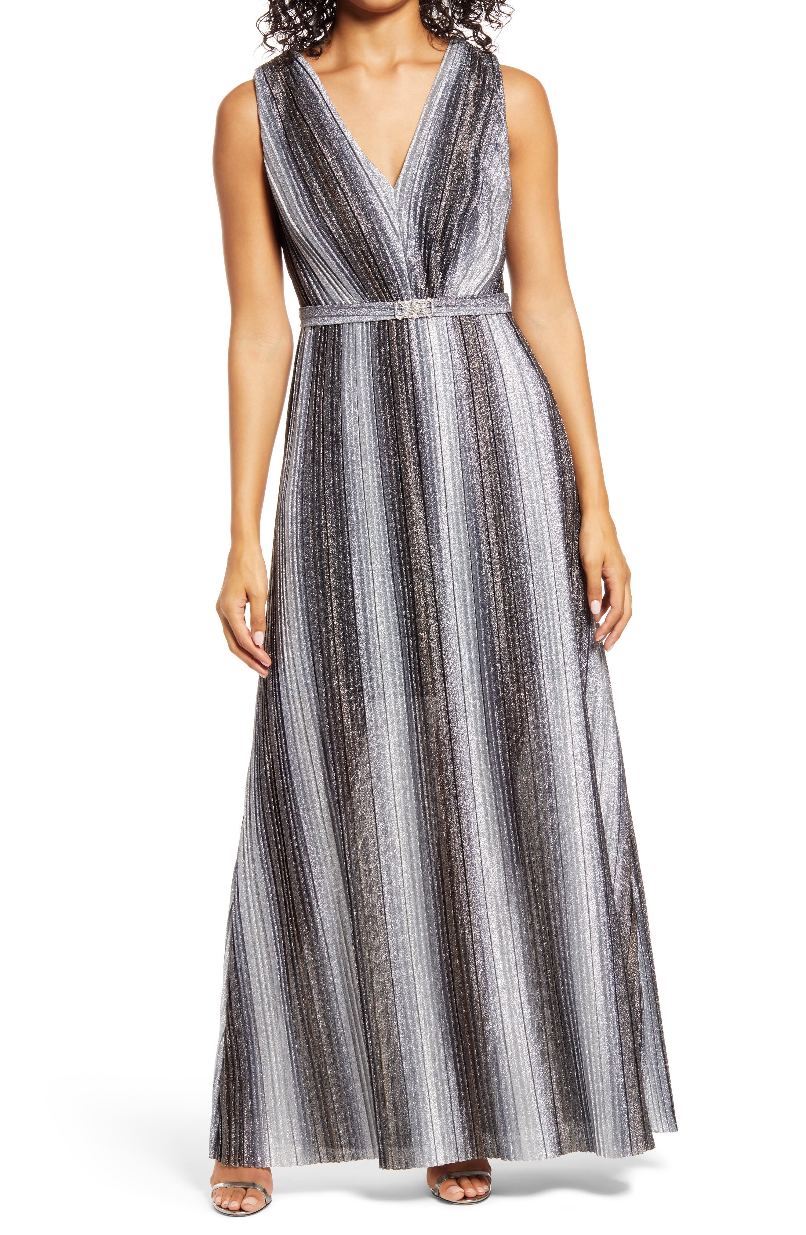 70s Prom, Formal, Evening, Party Dresses Vince Camuto Metallic Stripe Sleeveless V-Neck Gown Size 14 - Gunmetal at Nordstrom Rack $116.97 AT vintagedancer.com