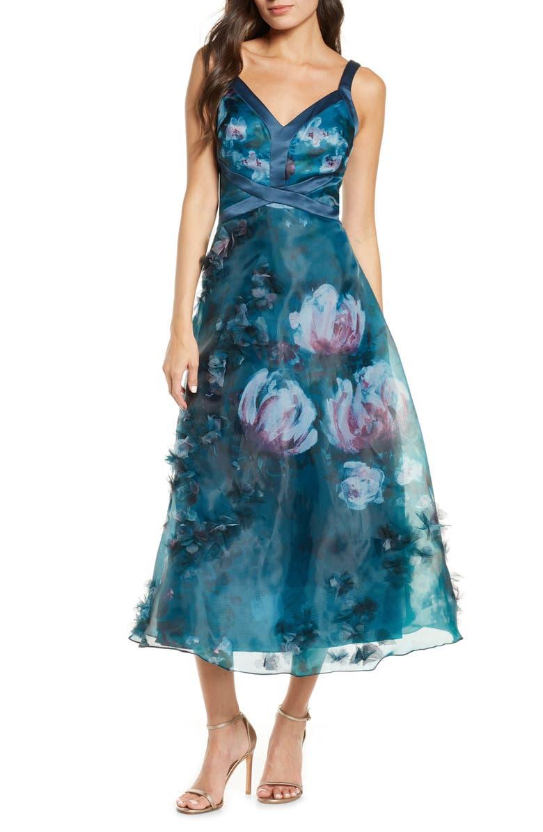 MARCHESA NOTTE Embellished Floral Print Organza Midi Dress, Main, color, EMERALD