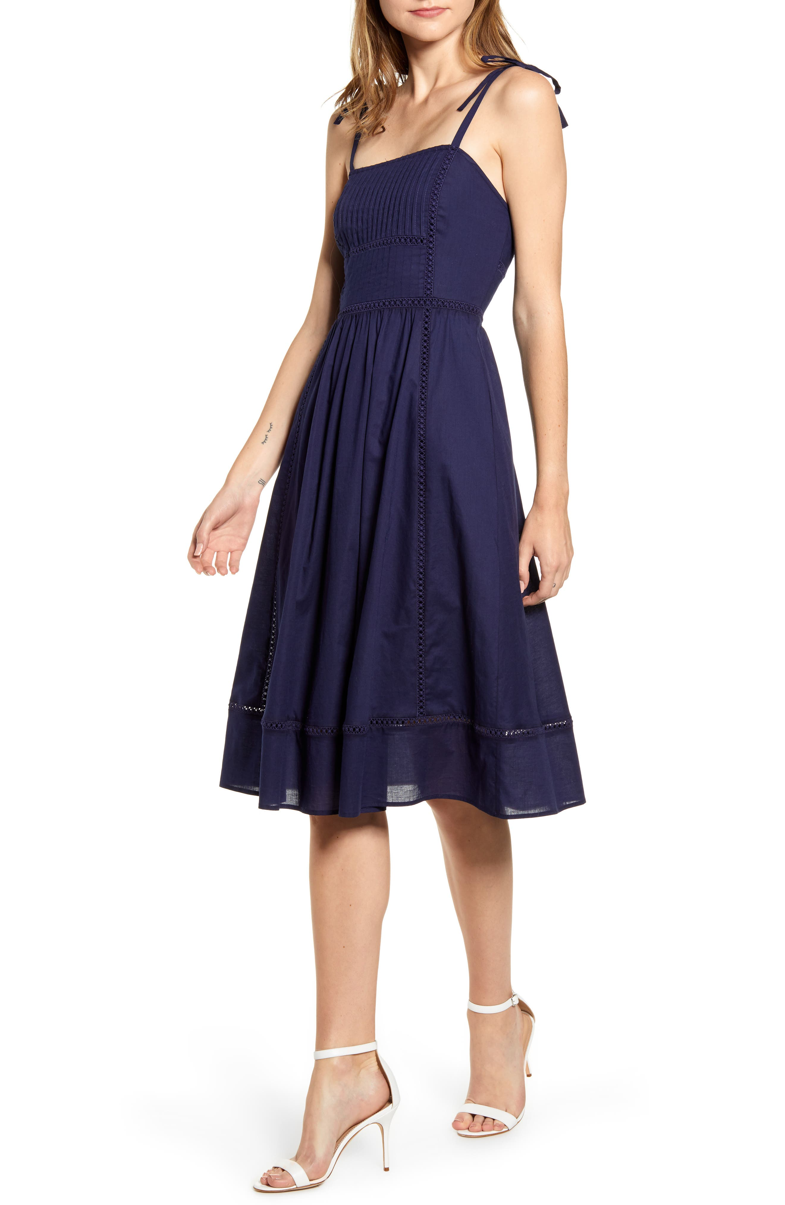 Anne Klein Embroidered Fit & Flare Dress, Blue