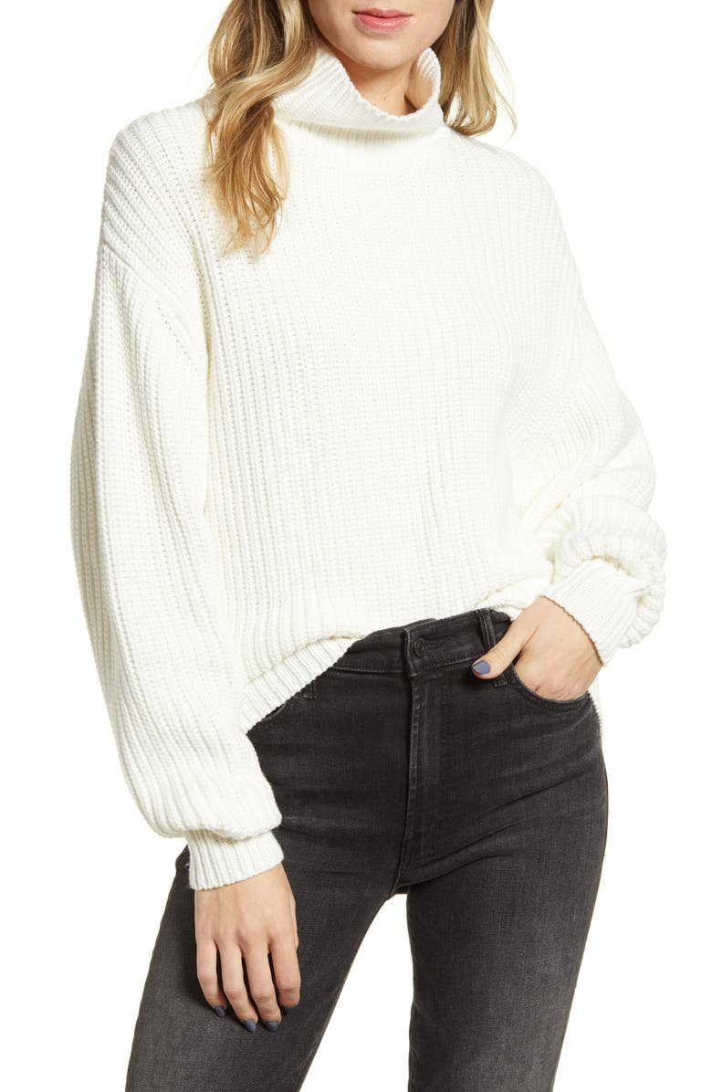 FRENCH CONNECTION Millie Mozart Turtleneck, Main, color, WINTER WHITE