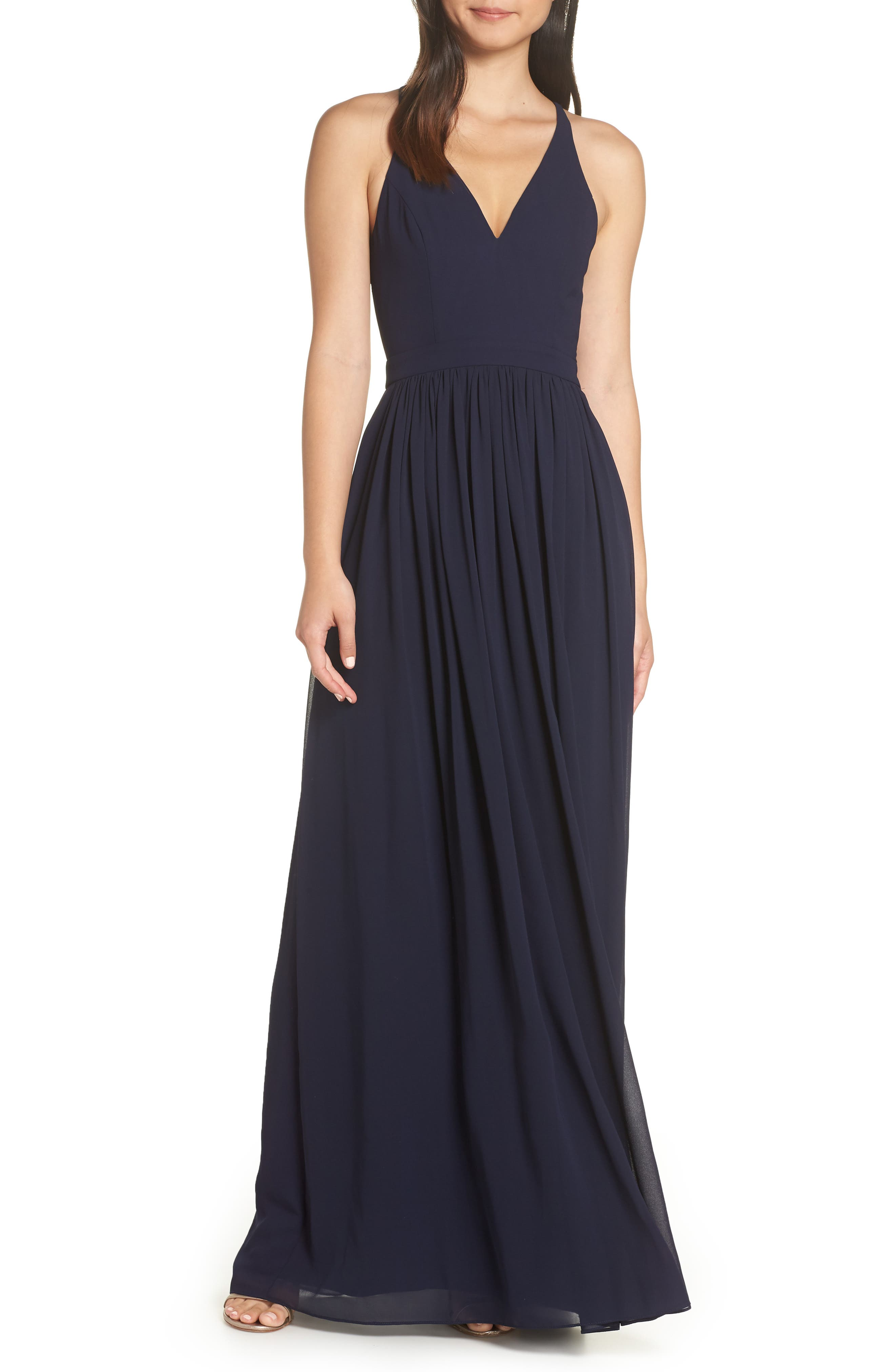 Lulus Everlasting Beauty Lace Back Chiffon Gown, Blue