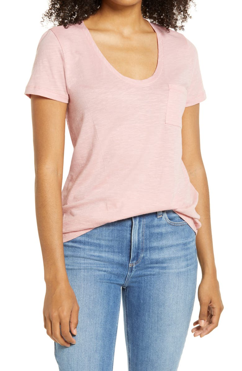 CASLON<SUP>®</SUP> Rounded V-Neck T-Shirt, Main, color, PINK BRIDE