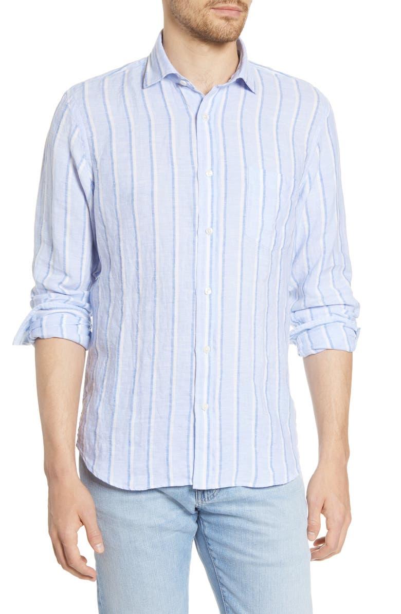 HARTFORD Paul Regular Fit Stripe Linen Button-Up Shirt, Main, color, 400