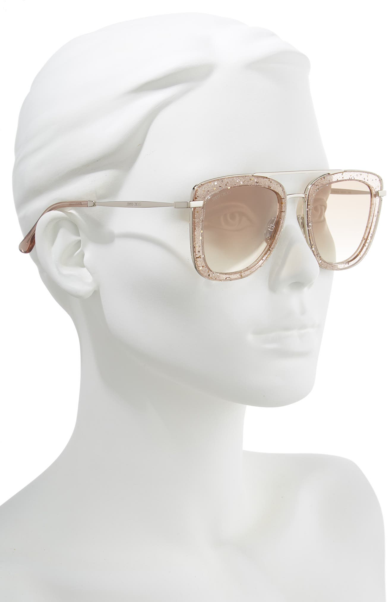 ,                             Glossy 53mm Square Sunglasses,                             Alternate thumbnail 2, color,                             NUDE