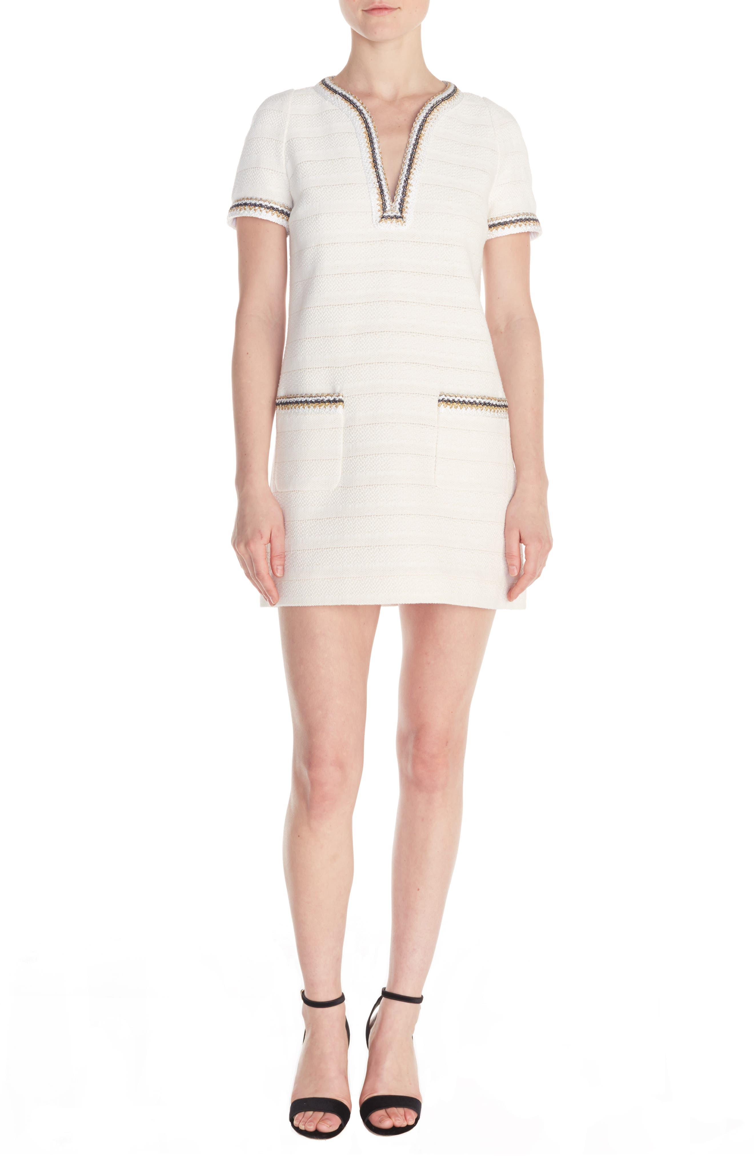 Sandro Josepha Tweed Shift Dress, 4 FR - Ivory