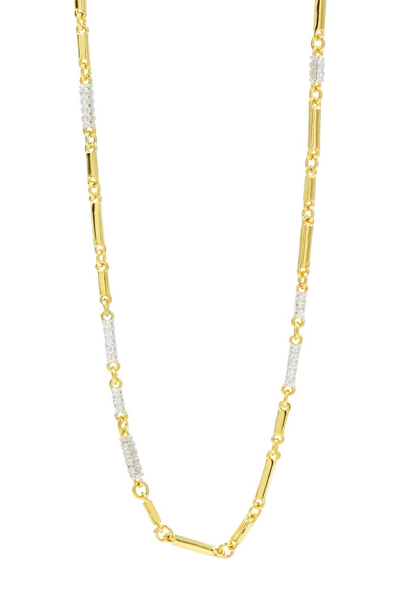 FREIDA ROTHMAN Radiance Cubic Zirconia Chain Necklace, Main, color, SILVER/ GOLD