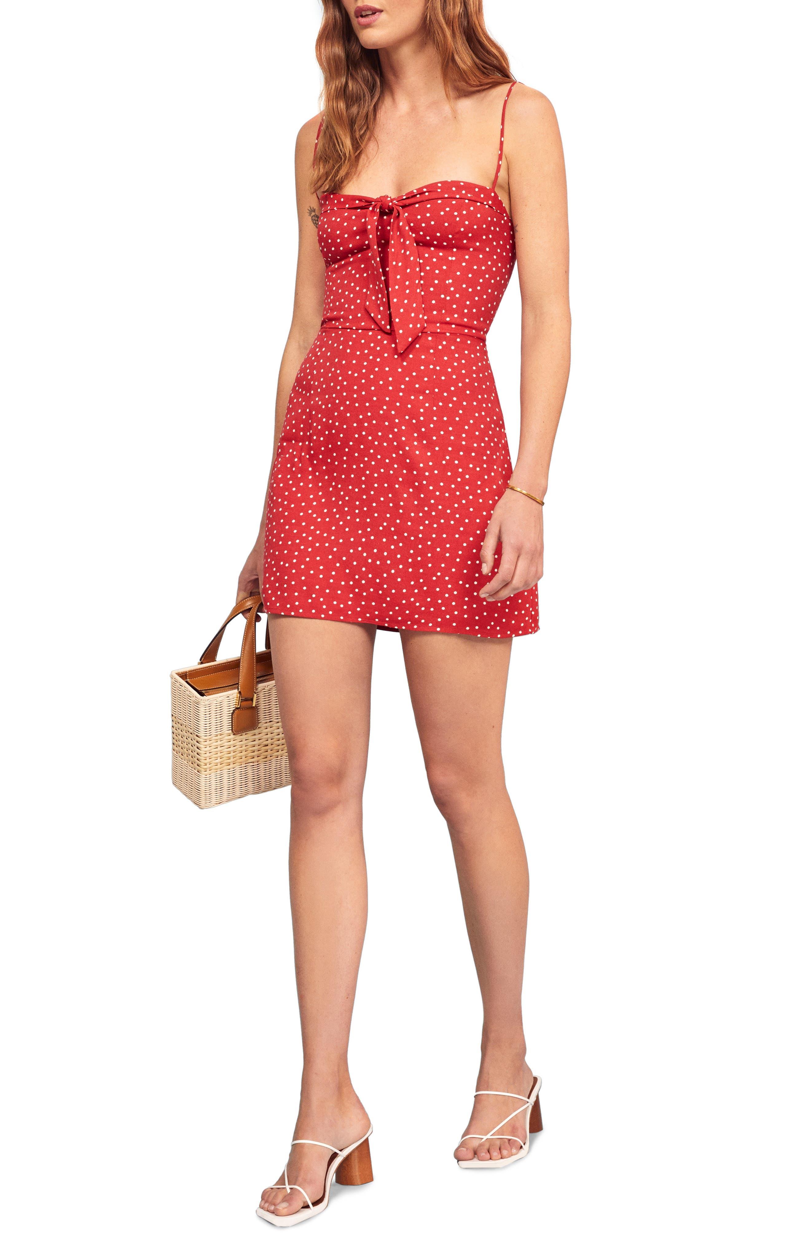 Reformation Helm Sleeveless Minidress, Red