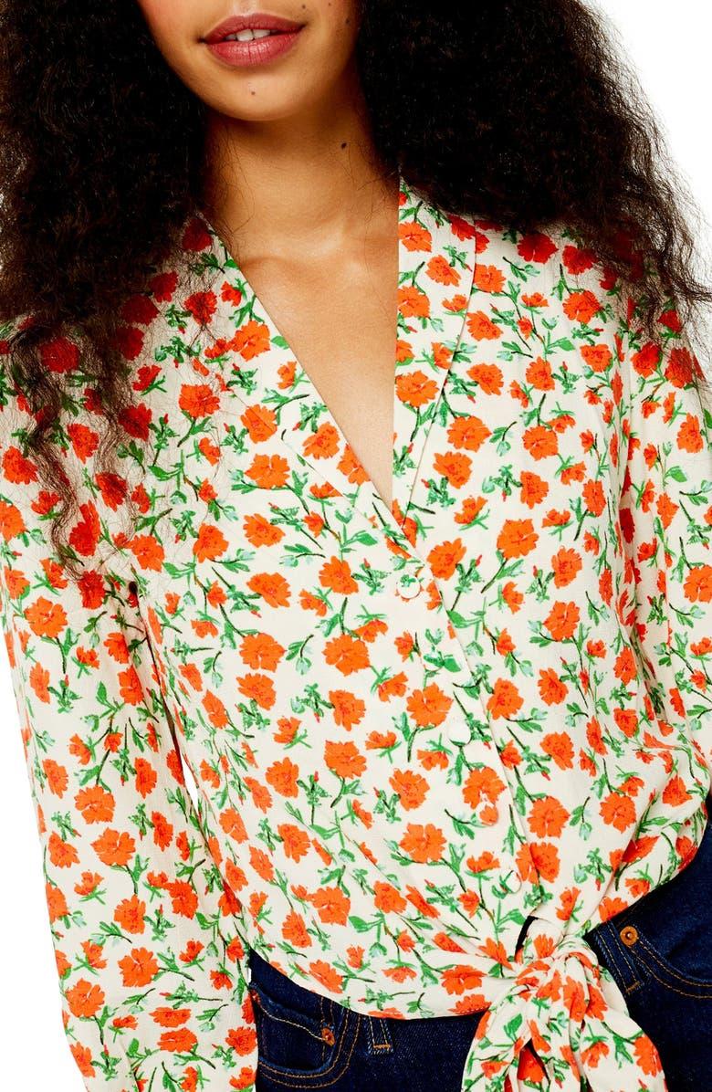 TOPSHOP Floral Knot Front Shirt, Main, color, 900