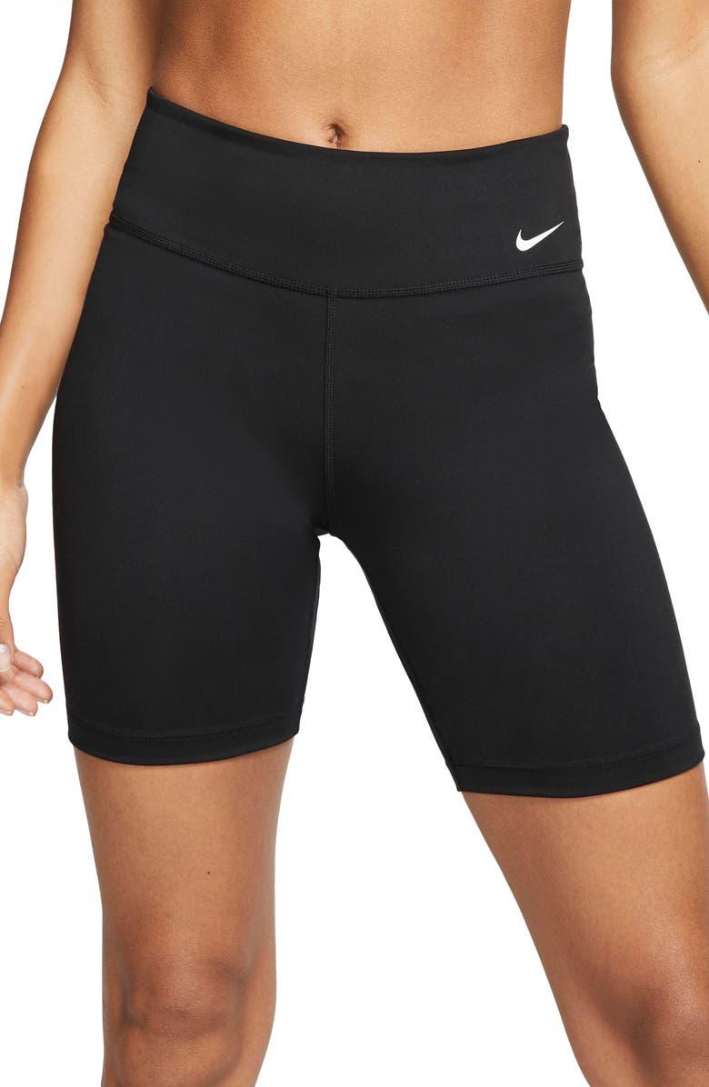 NIKE One Dri-FIT Shorts, Main, color, BLACK/WHITE