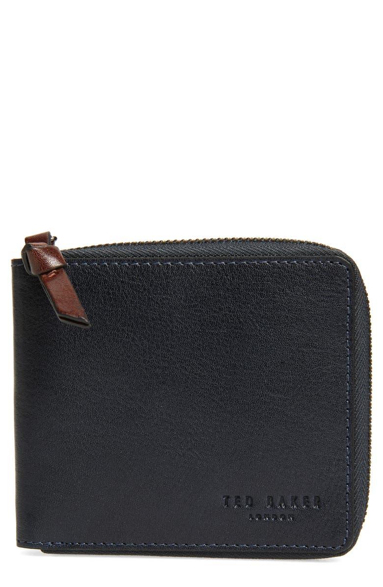 TED BAKER LONDON Kerola Leather Zip Bifold Wallet, Main, color, NAVY
