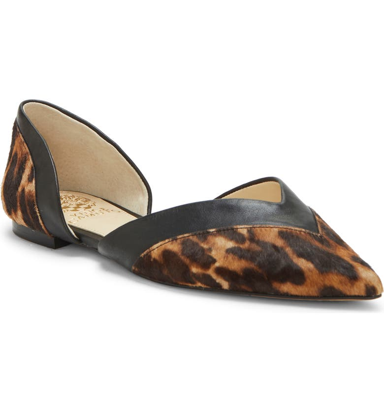 VINCE CAMUTO Caivan Genuine Calf Hair d'Orsay Flat, Main, color, NATURAL/ BLACK CALF HAIR