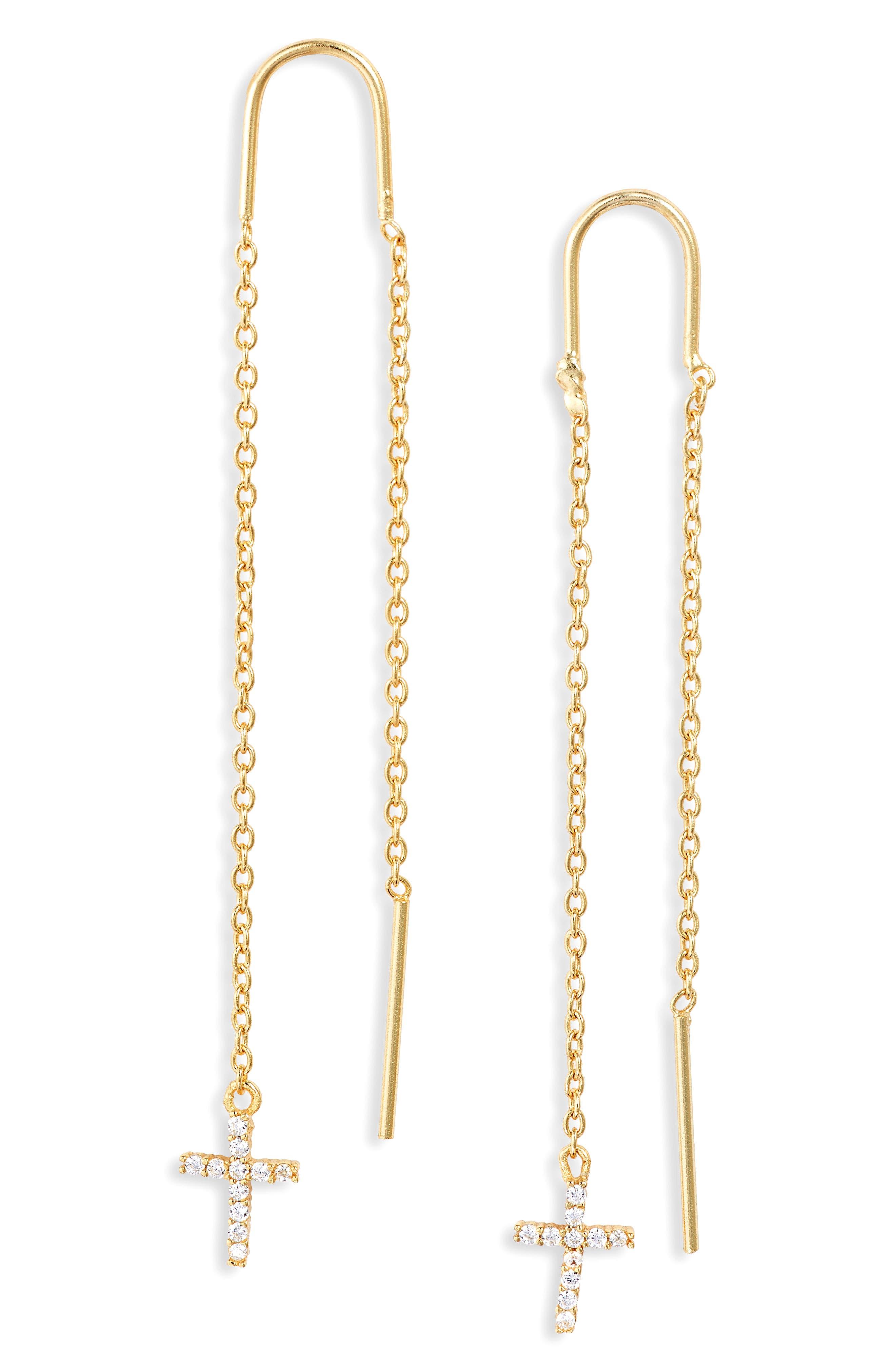 Cubic Zirconia Cross Threader Earrings