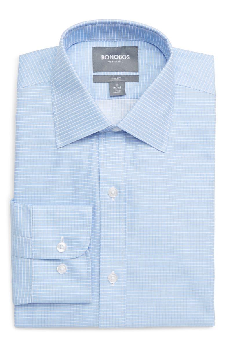 BONOBOS Slim Fit Check Dress Shirt, Main, color, BLUE
