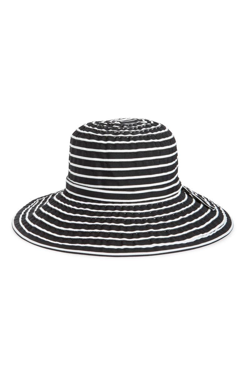 SAN DIEGO HAT Striped Ribbon Sun Hat, Main, color, 001