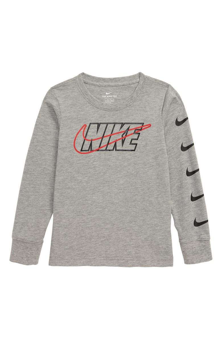 NIKE Outlined Swoosh Long Sleeve T-Shirt, Main, color, DARK GREY HEATHER