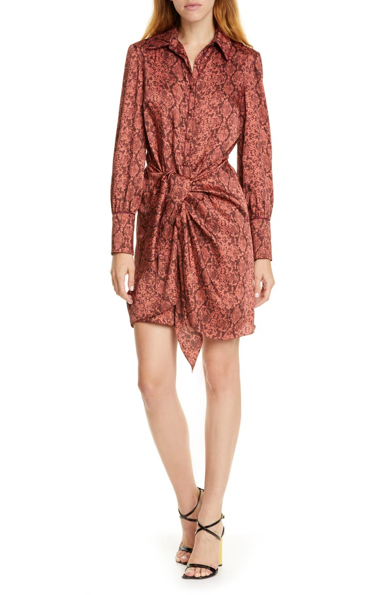 CINQ À SEPT Gaby Python Print Long Sleeve Shirtdress, Main, color, ROSEWOOD