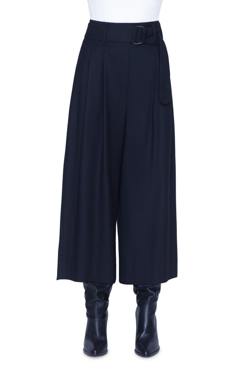AKRIS PUNTO Fiorella Belted Wool Culottes, Main, color, BLACK