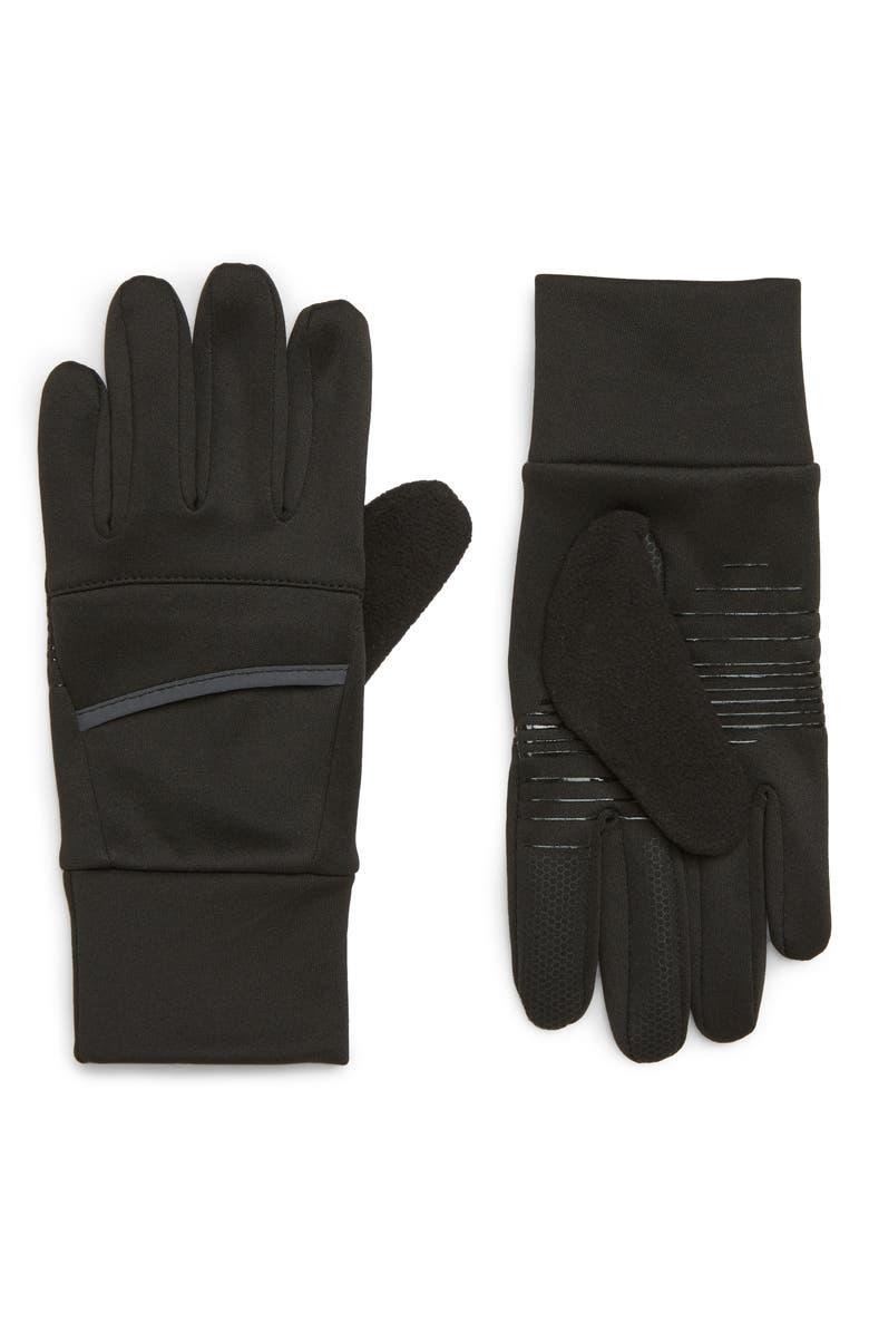ZELLA Tech Running Gloves, Main, color, BLACK