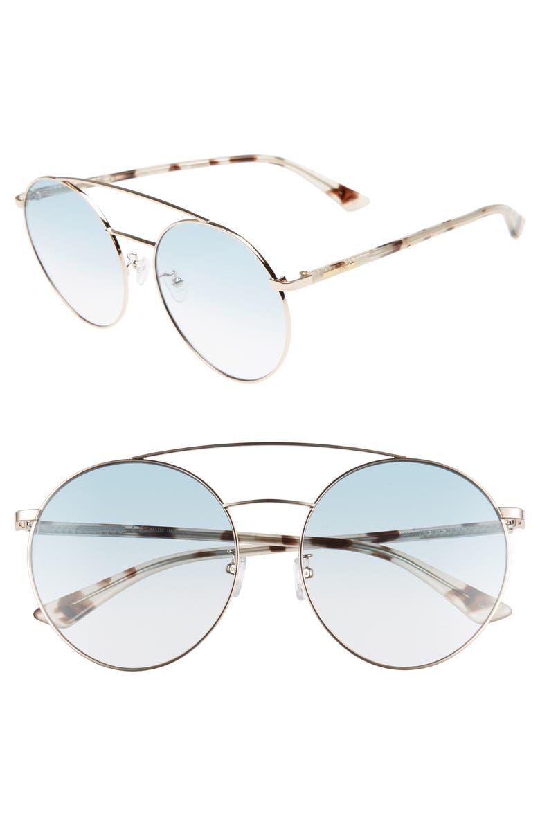 MCQ ALEXANDER MCQUEEN 61mm Round Aviator Sunglasses, Main, color, GOLD/ MILKY HAVANA