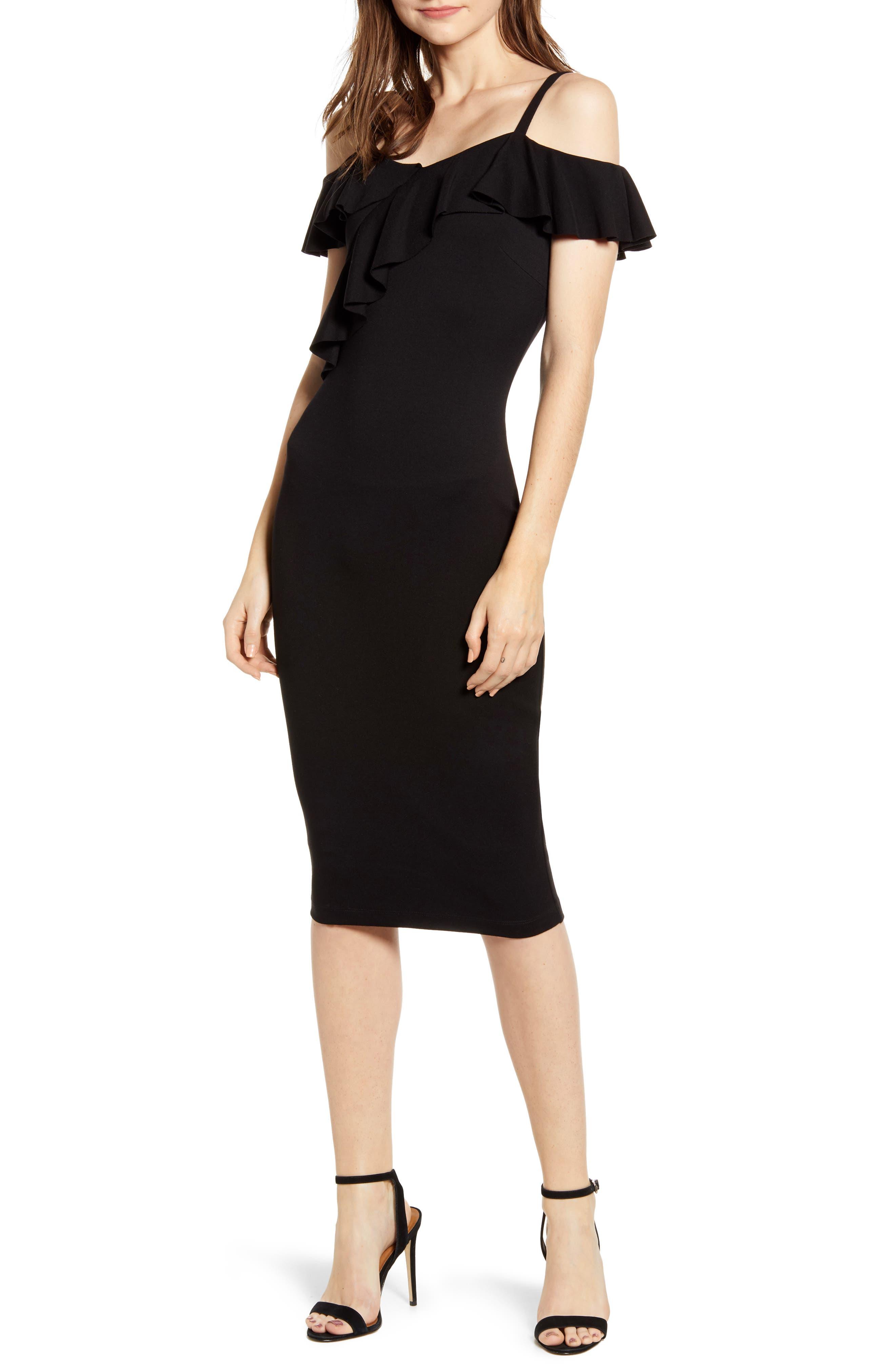 Bailey 44 Jungle Canopy Cold Shoulder Body-Con Dress, Black