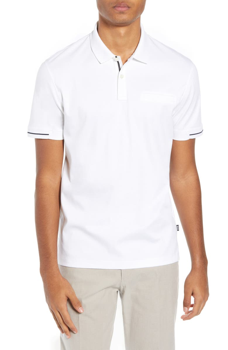 BOSS Parlay Regular Fit Polo, Main, color, WHITE