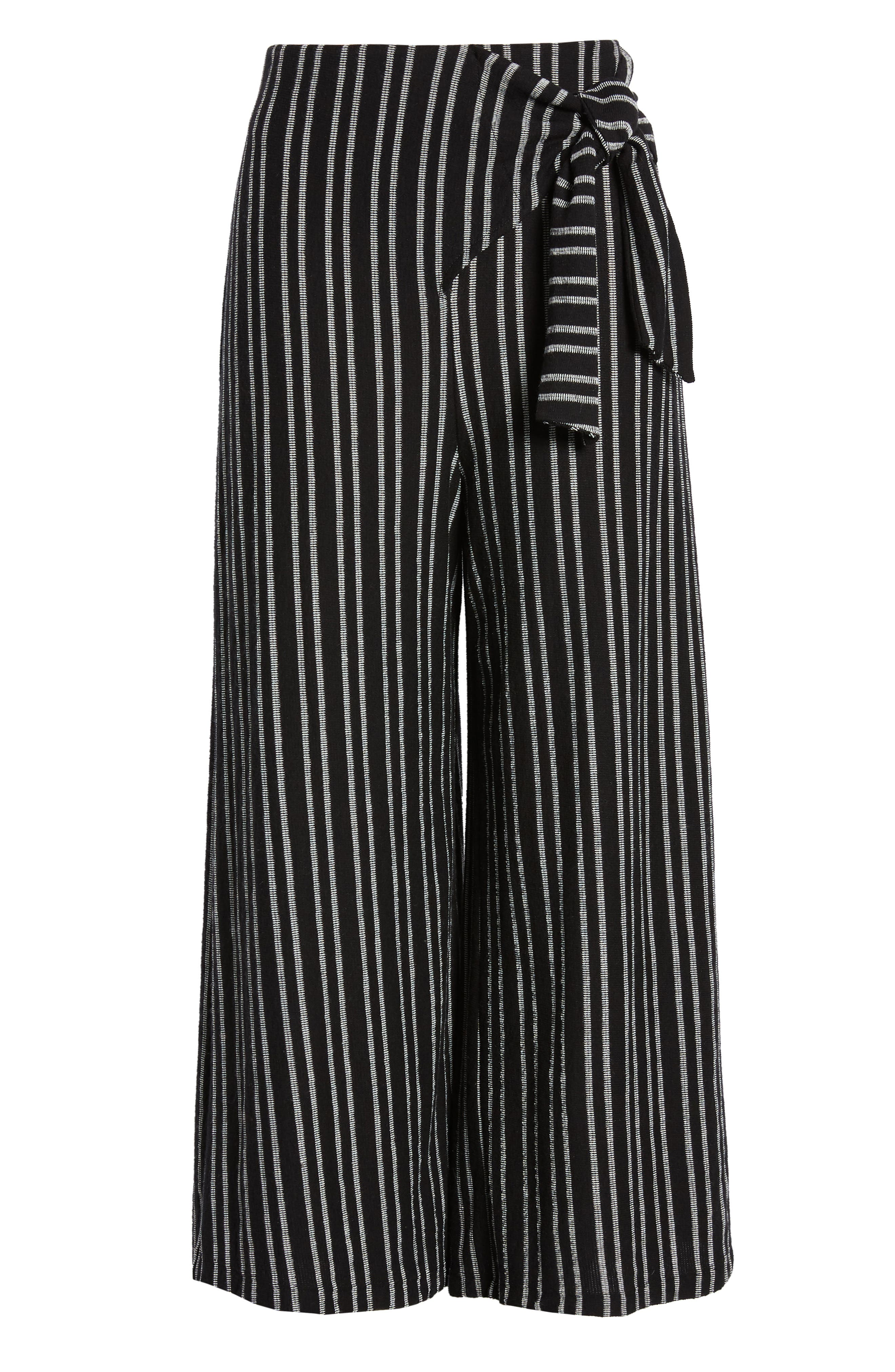 ,                             Tie Waist Stripe Wide Leg Crop Pants,                             Alternate thumbnail 7, color,                             BLACK WHITE STRIPE