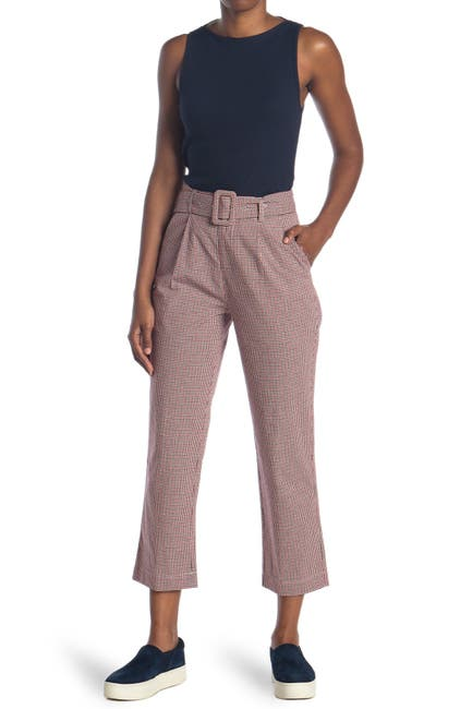 Image of EN SAISON Plaid Belted Crop Trousers