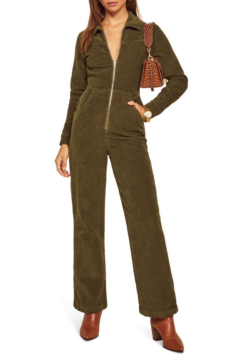 REFORMATION Aaron Corduroy Jumpsuit, Main, color, ARMY