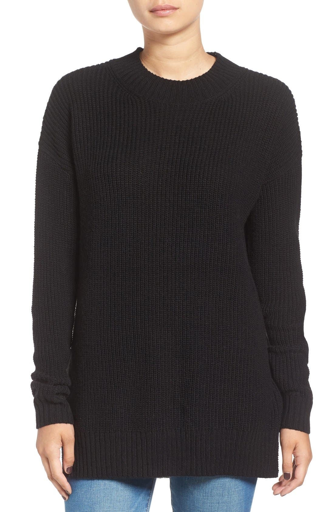 Ribbed Mock Neck Pullover, Main, color, 001