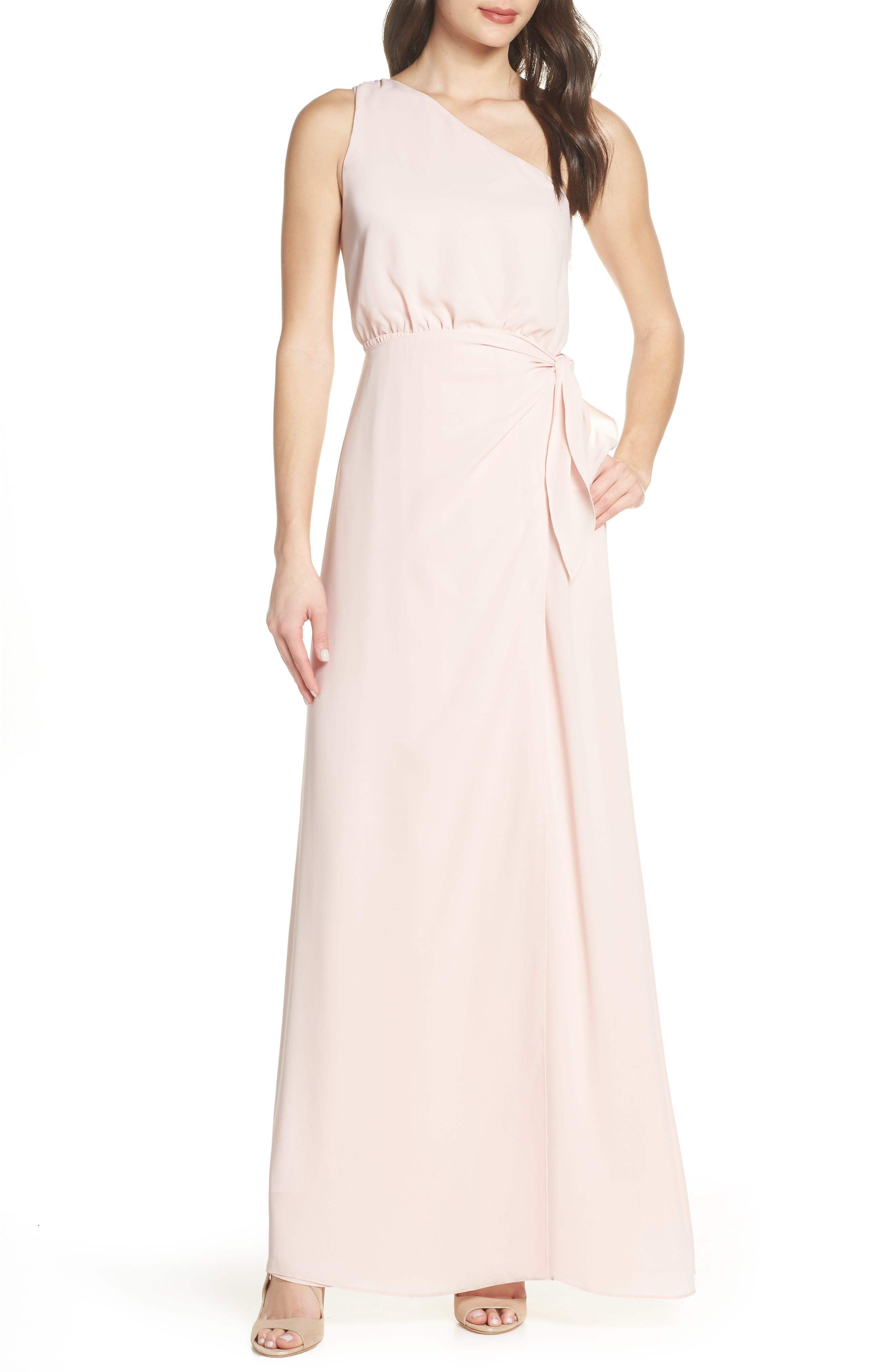 Wayf One-Shoulder Wrap Front Evening Dress, Pink