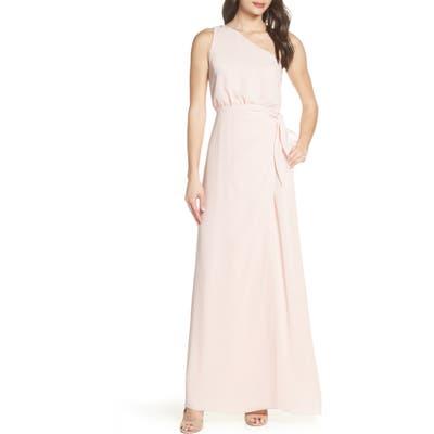 Wayf One-Shoulder Wrap Front Evening Dress, Pink