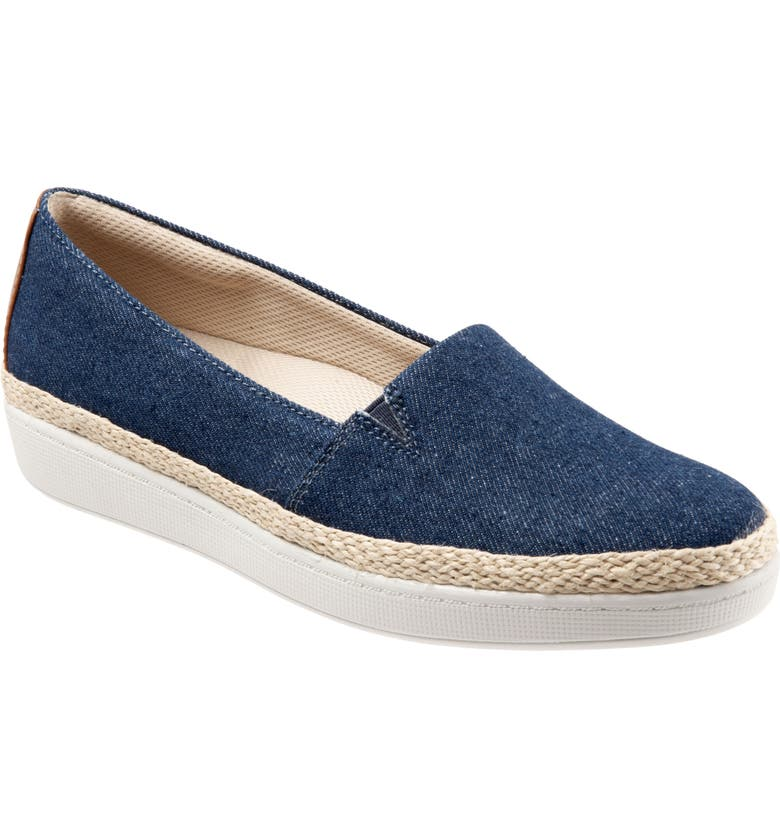 TROTTERS Accent Slip-On, Main, color, BLUE JEANS FABRIC