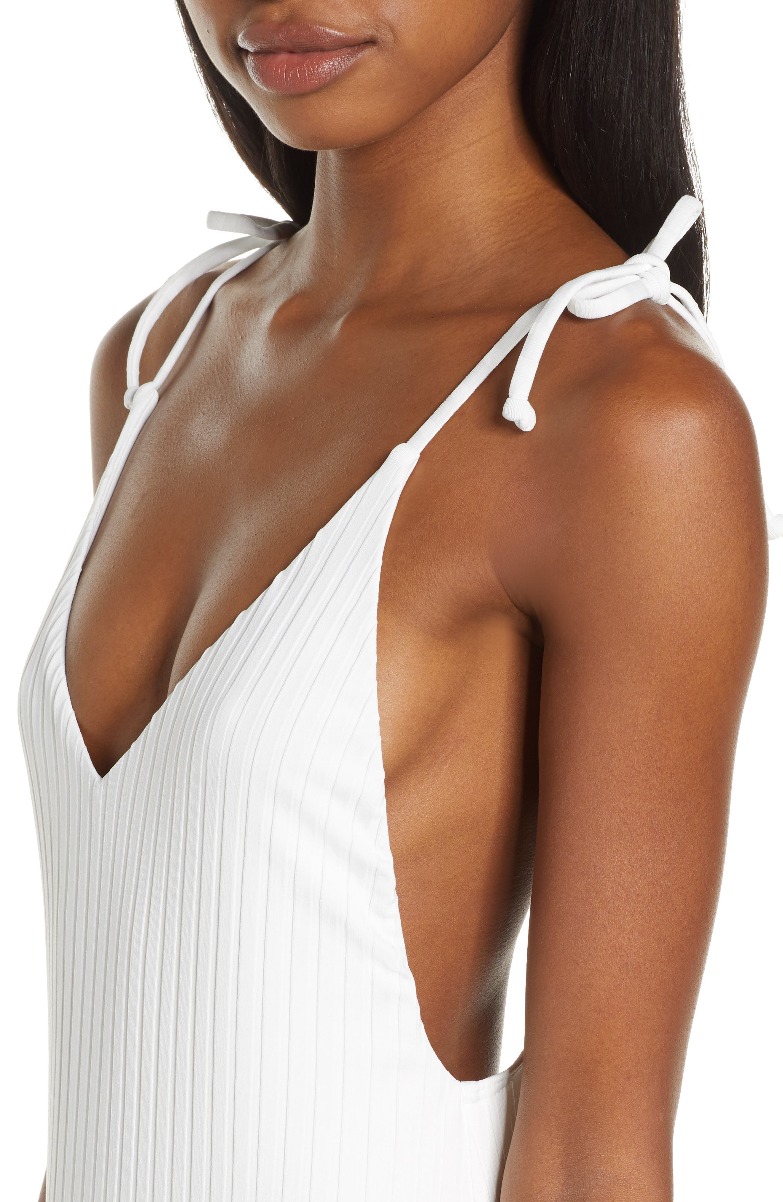 ,                             Sunny Rib One-Piece Swimsuit,                             Alternate thumbnail 5, color,                             WHITE