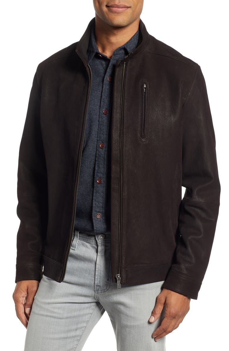 RODD & GUNN Westhaven Distressed Leather Bomber Jacket, Main, color, CHOCOLATE