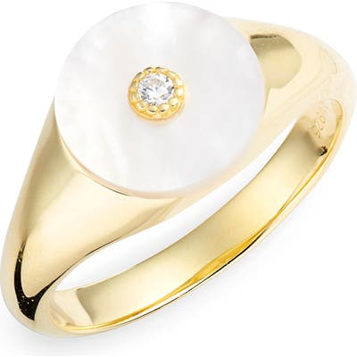 Argento Vivo Mother-Of-Pearl Cubic Zirconia Signet Ring