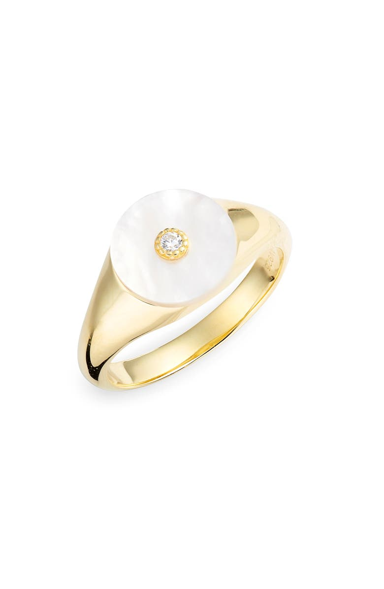 ARGENTO VIVO Mother-of-Pearl Cubic Zirconia Signet Ring, Main, color, 710