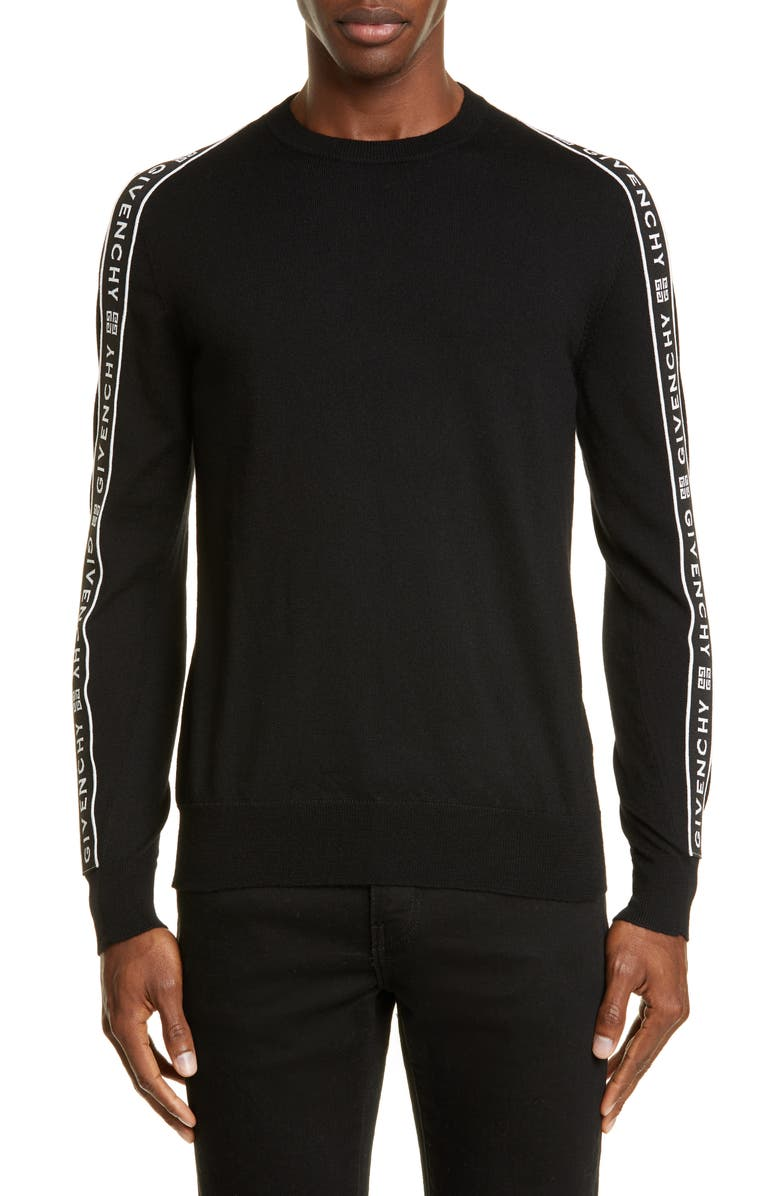 GIVENCHY Large Band Crewneck Wool Sweater, Main, color, BLACK