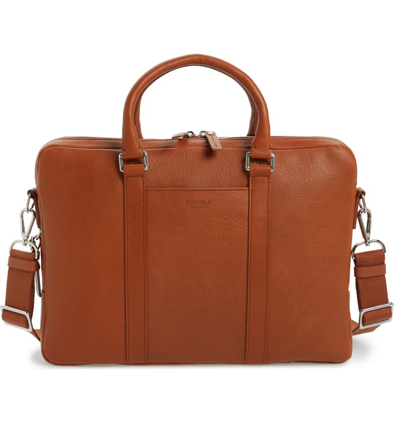 SHINOLA Signature Leather Computer Briefcase, Main, color, BOURBON