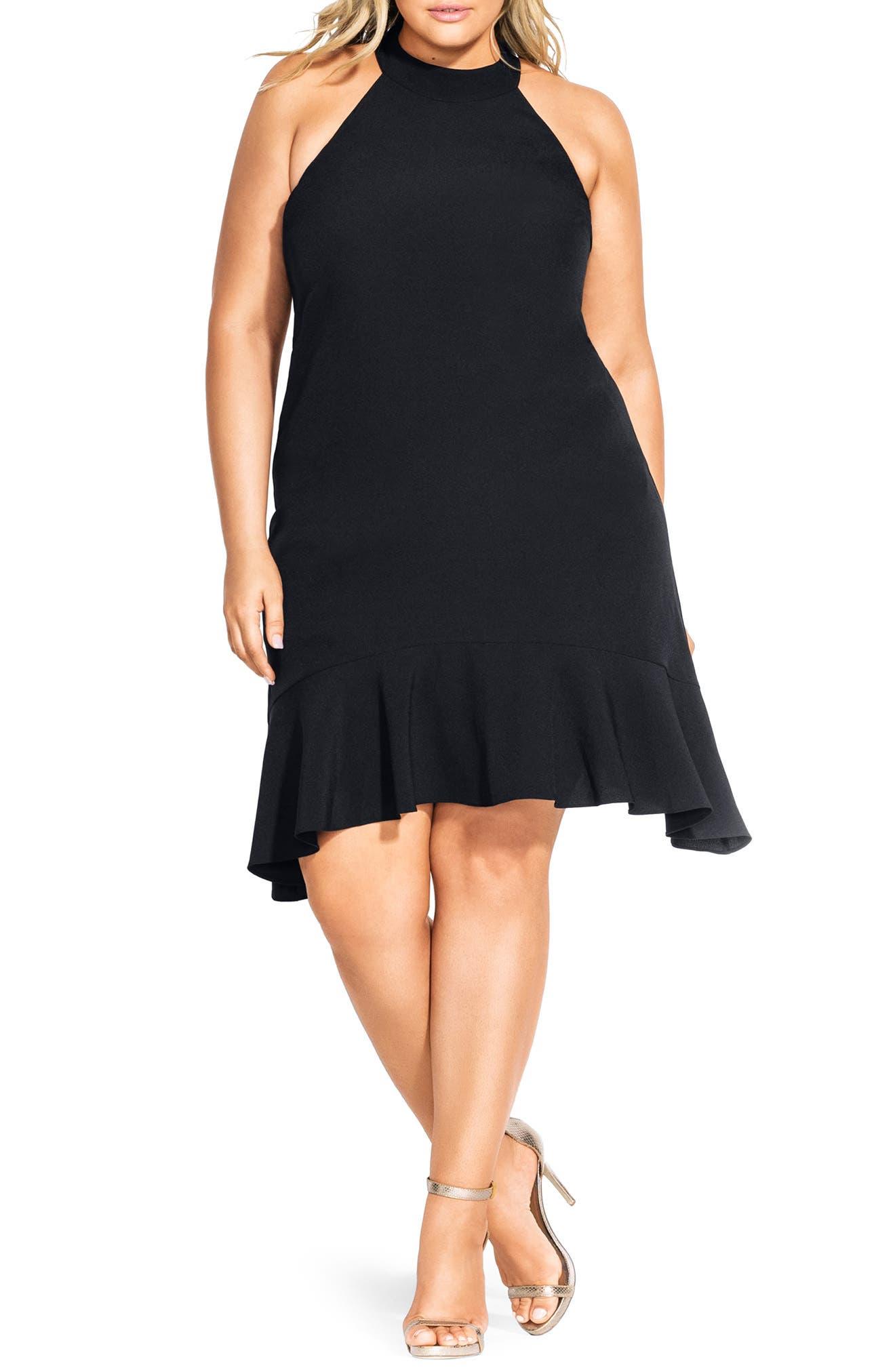 Plus Size City Chic Halter Neck Ruffle Hem Dress, Black