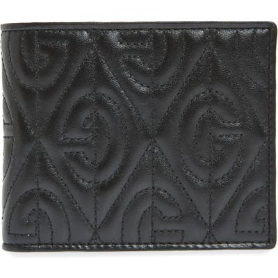 Gucci G Rhombus Quilted Leather Bifold Wallet - Black