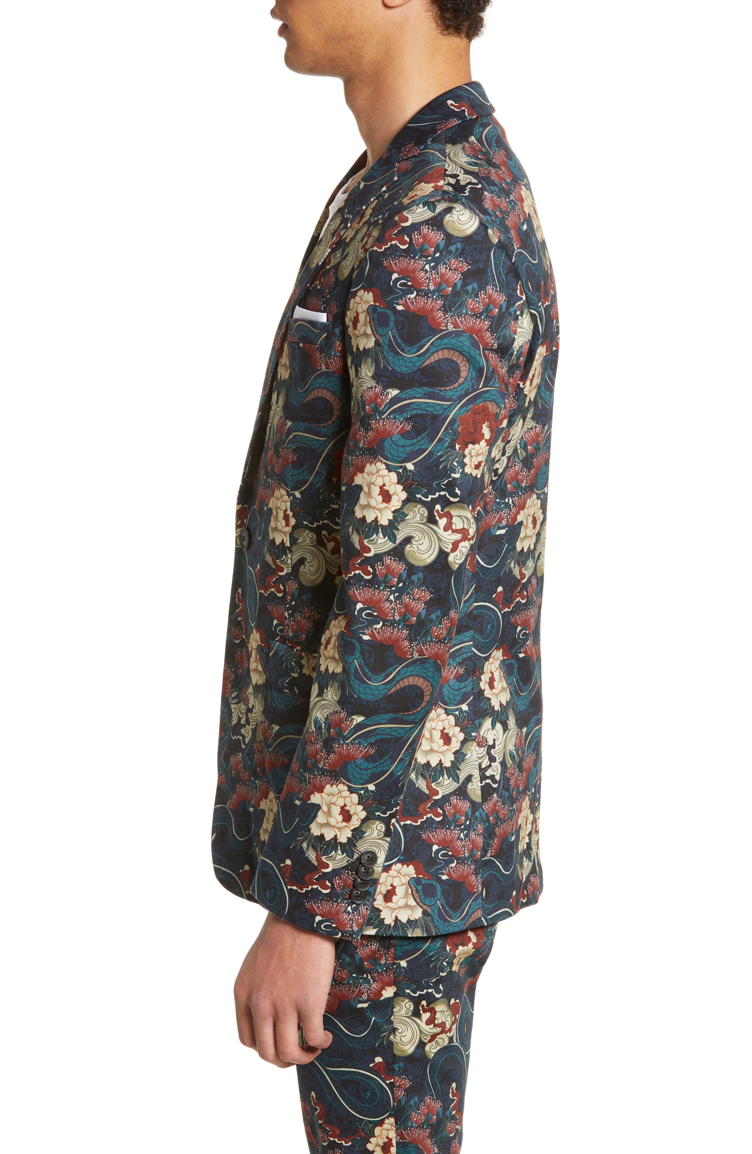 ,                             Skinny Fit Japan Print Suit Jacket,                             Alternate thumbnail 3, color,                             BLACK