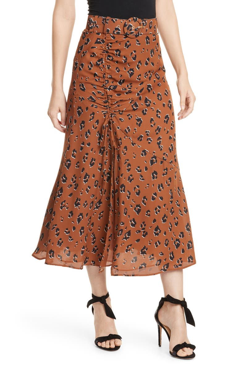 NICHOLAS Side Gathered Silk Skirt, Main, color, 200